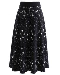 星柄セミフレアニットスカート ブラック