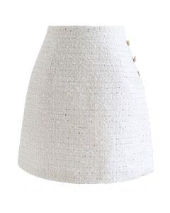 サイドボタンツイードミニスカート ホワイト