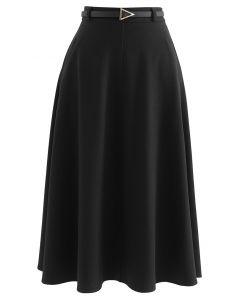 ベルト付きフレアスカート ブラック