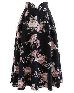 エンボス花柄タックミモレ丈スカート ブラック