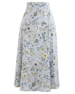 花柄プリントサテンスカート ブルー