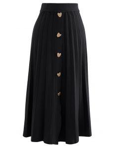 ハートボタンプリーツニットスカート ブラック