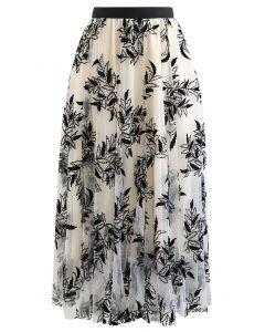 リーフレイヤード刺繍チュールスカート アイボリー