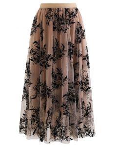 リーフレイヤード刺繍チュールスカート カラメル
