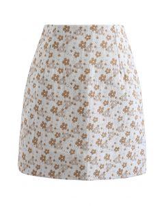 花柄ジャカード台形スカート オレンジ