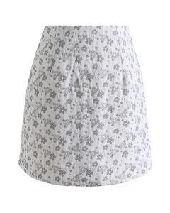 花柄ジャカード台形スカート グレー