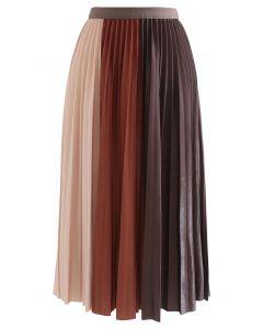 カラーブロックプリーツスカート カラメル