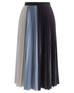 カラーブロックプリーツスカート ブルー