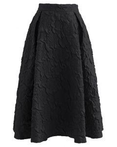フラワーエンボスミモレ丈スカート ブラック