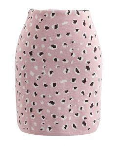 レオパードプリントニット台形スカート ピンク