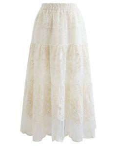 花柄刺繍オーガンジースカート アイボリー