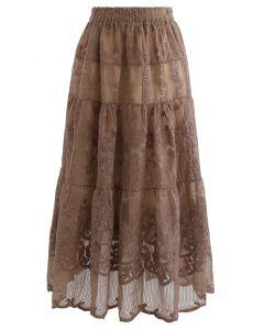花柄刺繍オーガンジースカート カラメル