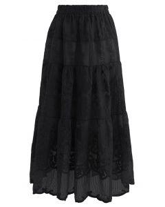 花柄刺繍オーガンジースカート ブラック