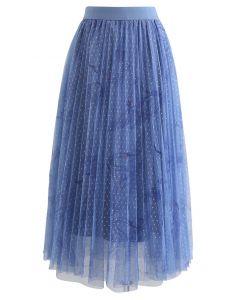 ドットレイヤードチュールスカート ブルー