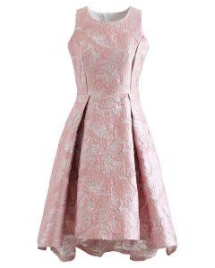 花柄ジャカードノースリワンピース ピンク
