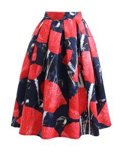 ビッグフラワープリントタックフレアスカート