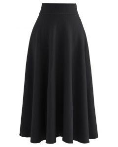 ソフトニットフレアスカート ブラック