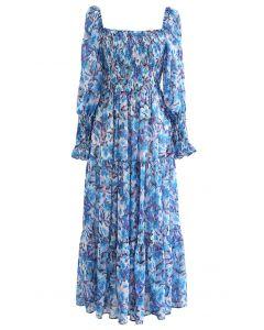 スクエアネック水彩風花柄シャーリングワンピース ブルー