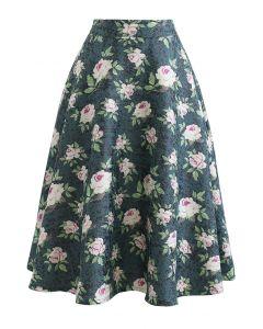 ラメ入り花柄ジャカードフレアスカート