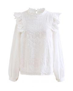 ショルダーフリル刺繍シフォンブラウス ホワイト