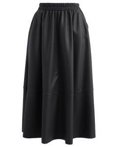 フェイクレザーギャザーフレアスカート ブラック
