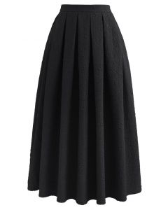 エンボスサテンプリーツスカート ブラック