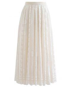スカラップ花柄レースマキシスカート アイボリー