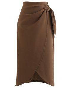 サイトベルトデザインラップ風スカート カラメル