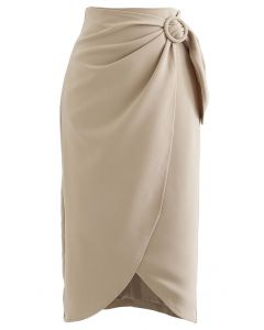 サイトベルトデザインラップ風スカート ライトタン