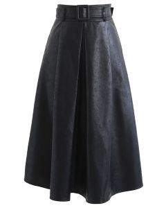 ベルト付フェイクレザータックフレアスカート ブラック
