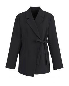 肩パット入りカシュクールジャケット ブラック