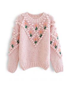 フラワー刺繍ポンポンニット ピンク