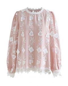 フラワー刺繍アイレットブラウス ピンク