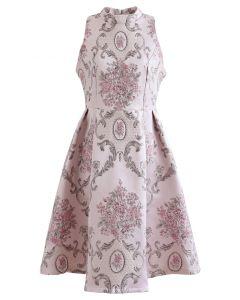 花柄ジャカードフレアノースリワンピース ピンク