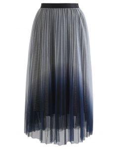 Gradient Mesh Glitter Pleated Midi Skirt in Dusty Blue