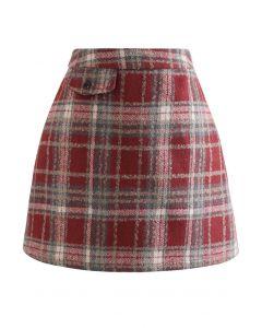 Red Plaid Wool-Blend Mini Bud Skirt