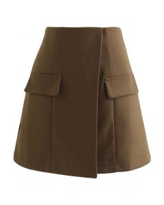 Flap Accent High-Waisted Mini Skirt in Tan