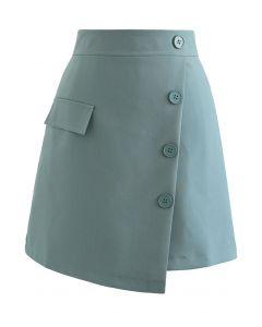 フェイクポケットラップ風アシメ台形スカート ティール