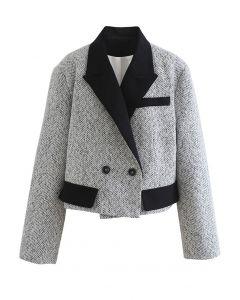 肩パット入り配色ショートジャケット ホワイト