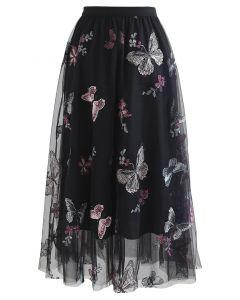蝶々刺繍レイヤードチュールスカート