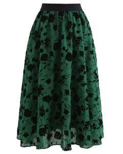 フラワープリントシアーミディスカート グリーン