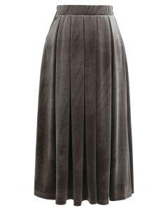 ベロアプリーツスカート グレー