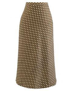 ドットプリントセミフレアヘムスカート カラメル