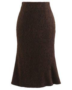 ベロアレースマーメイドスカート ブラウン