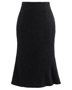 ベロアレースマーメイドスカート ブラック