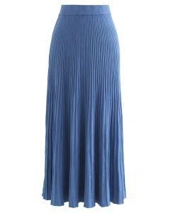 ハイウエストリブニットスカート ブルー