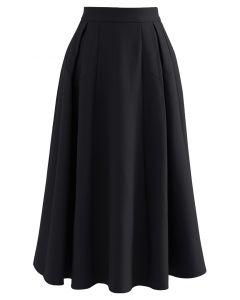 シンプルタックフレアスカート ブラック