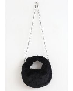 Faux Fur Crossbody Bag in Black