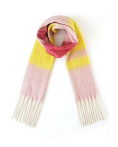 Color Blocked Tassel Oversized Scarf in Pink