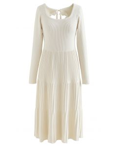 Cutout Tie Back Ribbed Knit Midi Dress in Cream